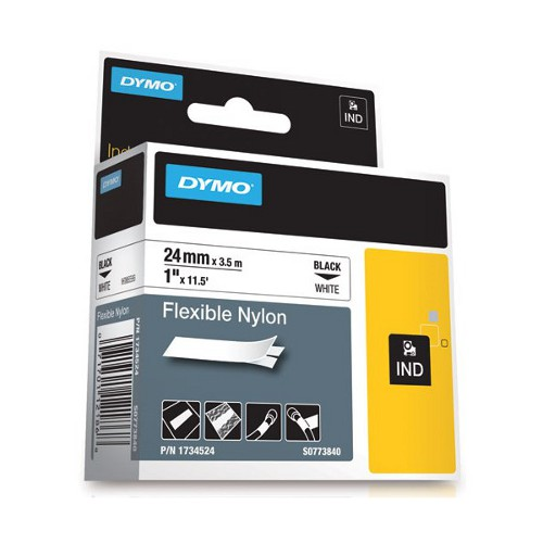 DYMO SD1734524 Flexible Nylon 24mm Black on White