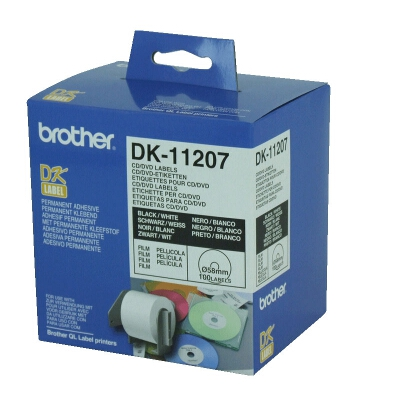 Brother DK-11207 White CD/DVD Film Labels 58 diameter 100 labels per roll