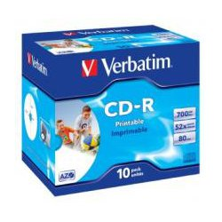 Verbatim 41920 CD-R 80 Min Wide IJ Printable Jewel Case 10 Pack 52x