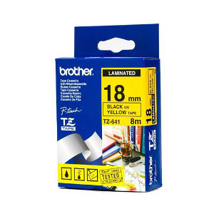 Brother TZ-641 Laminated Black Printing on Yellow Tape (18mm Width 8 Metres in Length)