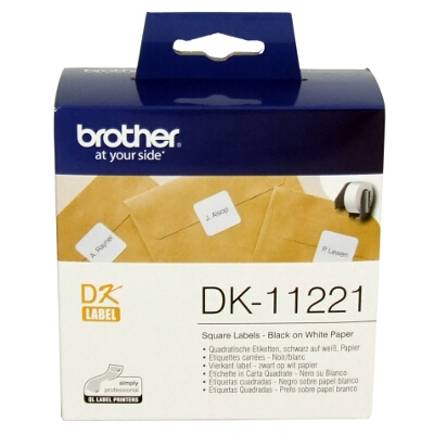Brother DK-11221 White Square Die-Cut Labels 23mm x 23mm, 1000 Labels per roll