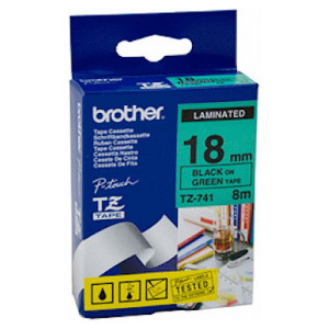 Brother TZ-741 Laminated Black Printing on Green Tape (18mm Width 8 Metres in Length)