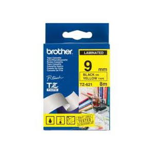 Brother TZ-621 Laminated Black Printing on Yellow Tape (9mm Width; 8 Metres in Length)