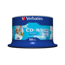 Verbatim CD-R 80 Min White Inkjet Printable 50 Pack Spindle 52x