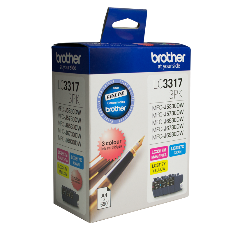 Brother LC-3317 Colour Value Pack - 1 x Cyan 1 x Magenta 1 x Yellow