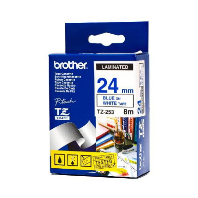 Brother TZ-253 Laminated Blue Printing on White Tape (24mm Width 8 Metres in Length)