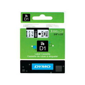 DYMO D1 LABEL CASSETTE 9mm x 7m - BLACK ON WHITE