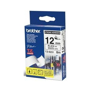 Brother TZ-S231 Strong Adhesive Laminated Tape Black Printing on White (12mm Width 8 Metres in Lengt
