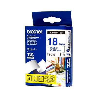Brother TZ-243 Laminated Blue Printing on White Tape (18mm Width 8 Metres in Length)