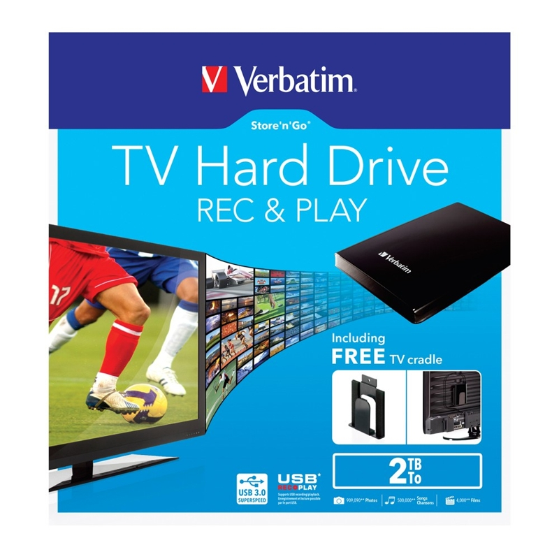 Verbatim 53192 2.5 Inch  2TB USB 3.0 StorenGo External Hard Drive (includes TV mount)