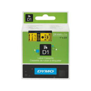 DYMO D1 LABEL CASSETTE 24mm x 7m - BLACK ON YELLOW