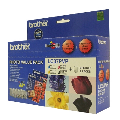 Brother LC-37 Photo Value Pack including LC-37BK/C/M/Y and 40 Sheets of 4x6 Photo Paper