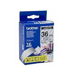Brother TZ-161 Laminated Black Printing on Clear Tape (36mm Width 8 Metres in Length)