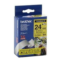 Brother TX-FX651 Flexible Laminated Black Printing on Yellow Tape (12mm Width 8 Metres in Length)