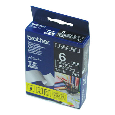 Brother TZ-315 Laminated White Printing on Black Tape (6mm Width 8 Metres in Length)