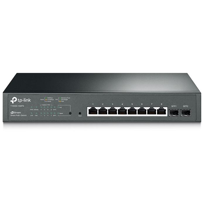 TP-Link T1500G-10MPS 8-Port Gigabit Smart PoE+ Switch with 2 SFP Slots