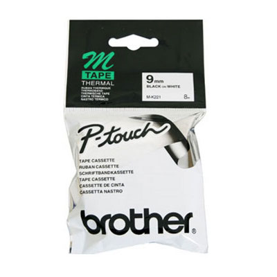 Brother M-K221 Non Laminated Black Printing on White Tape (9mm Width 8 Metres in Length)
