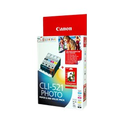 Canon CLI521 Value Pack including CLI521BK / C / Y / M and PP2014x6 (50 Sheets)