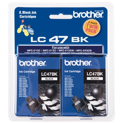 Brother LC-47BK Twin Pack - includes 2 x LC-47BK Black Cartridges