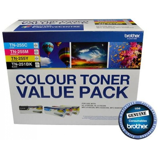 Brother N8AE00003 Value Pack includes 1x TN-251BK, 1x TN-255C, 1x TN-255M, 1x TN-255Y
