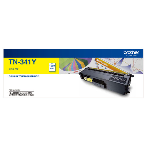 Brother TN-341Y Standard Yield Yellow Toner, 1500 pages
