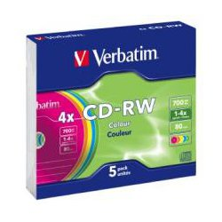Verbatim CD-RW 80 Min Colour Slim Case 5 Pack 2x-4x