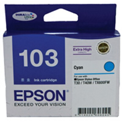 Epson Cyan Ink Cartrdige (High Yield) to suit Printers: TX600FW, T30, T40W