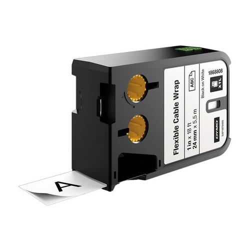 DYMO XTL 24mm Black/White Nylon Cont Tape