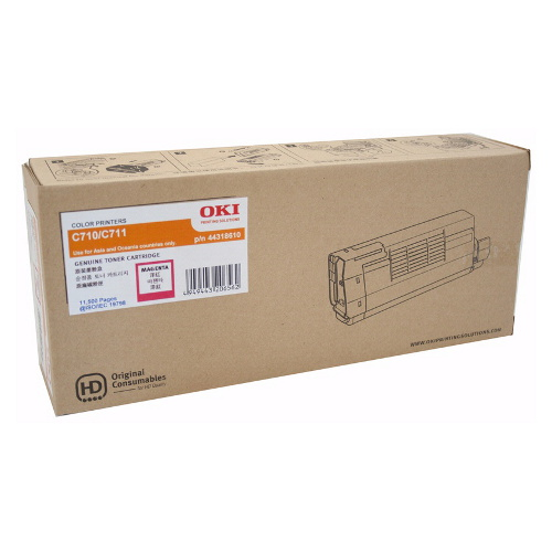 OKI 44318610 Magenta Toner Cartridge for C710/C711n (11,500 Yield @ 5% Coverage)