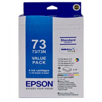 Epson Bundle Pack including 1 x Black, Cyan, Magenta and Yellow Cartridge + 20 Sheets 4x6 Inch Paper