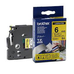 Brother TZ-611 Laminated Black Printing on Yellow Tape (6mm Width; 8 Metres in Length)