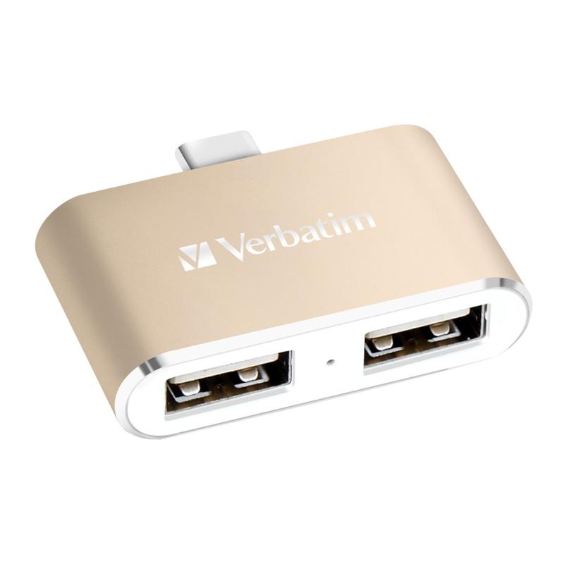 Verbatim 65290 USB-C 3.1 Dual Port USB Hub - Gold