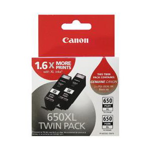 Canon PGI650XLBK-TWIN Twin Pack, Pigment Black, Extra Large Ink Tank to suit IP7260, MG5460, MG6360
