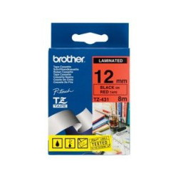 Brother TZ-431 Laminated Black Printing on Red Tape (12mm Width 8 Metres in Length)