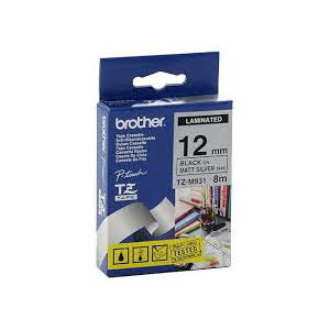 Brother TZ-M931 Laminated Black Printing on Silver Tape - Mat (9mm Width 8 Metres in Length)