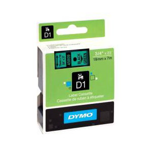 DYMO D1 LABEL CASSETTE 19mm x 7m - BLACK ON GREEN
