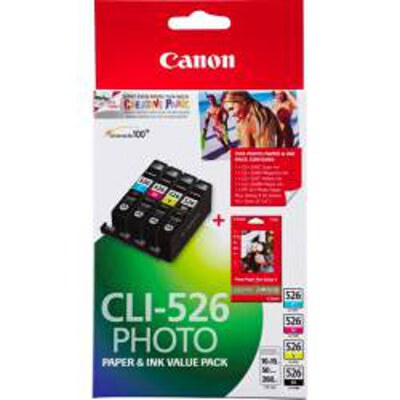 Canon CLI526VP Value Pack including CLI526BK / C / M / Y and PP2014x6 (50 Sheets)