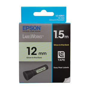 Epson C53S625111 LabelWorks Glow-in-the-Dark Tape, 12mm Black on Glow, 1.5m Length