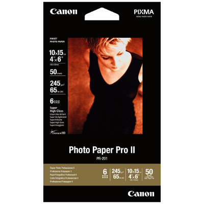 Canon PR2014X6-50 Photo Paper Professional II High Gloss 6x4 Photo Cards, 245gsm, 50 Sheets per pack