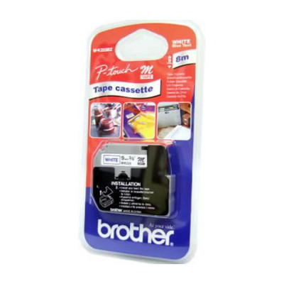 Brother M-K223 Non Laminated Blue Printing on White Tape (9mm Width, 8 Metres in Length)