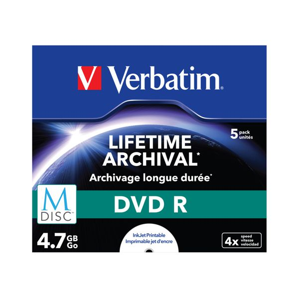 Verbatim 43821 M-Disc DVDR 4.7GB, 5 Pack, Jewel Case, White Inkjet Printable, 4x