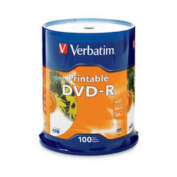 Verbatim DVD-R 4.7GB White Inkjet Printable, 100 Pack, 16x
