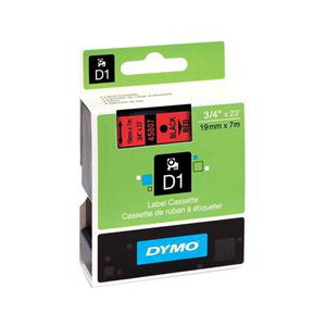 DYMO D1 LABEL CASSETTE 19mm x 7m - BLACK ON RED
