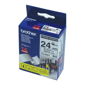 Brother TZ-S251 Strong Adhesive Laminated Tape Black Printing on White Tape (24mm Width 8 Metres in