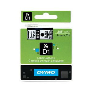 DYMO D1 LABEL CASSETTE 9mm x 7m - BLACK ON CLEAR