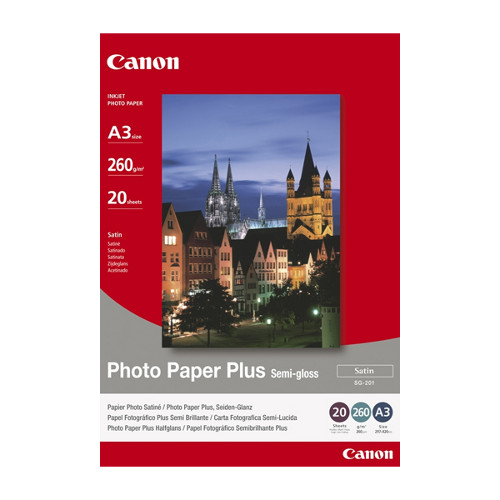 Canon SG201A3+ 260gsm Semi Gloss Photo Paper, 20 sheets