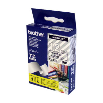 Brother TZ-135 Laminated White Printing on Clear Tape (12mm Width 8 Metres in Length)