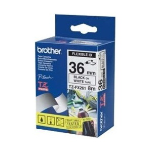 Brother TZ-FX261 Flexible Laminated Black Printing on White Tape (36mm Width 8 Metres in Length)