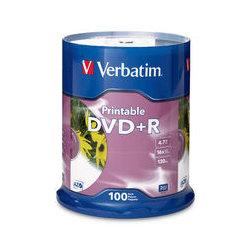 Verbatim DVD+R 4.7GB 100Pk, White Inkjet Printable, 16x