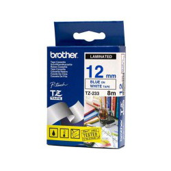 Brother TZ-233 Laminated Blue Printing on White Tape (12mm Width 8 Metres in Length)